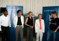 Pablo Thiam, Michael Teuber, Doris Fitschen, Silvia Neid und Anders Sundt Jensen beim Laureus Media Welcome Lunch.