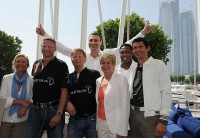 Sabine Christiansen, Stefan Bloecher, Anders Sundt Jensen, Vitali Klitschko, Silvia Neid, Pablo Thiam und Michael Teuber im Abu Dhabi Yacht Club.
