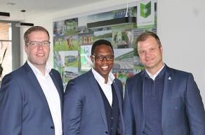 Tobias Trittel, Pablo Thiam, Fabian Wohlgemuth (von links) im Interview